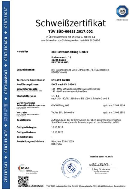 Annika Zaremski Zertifikat DE